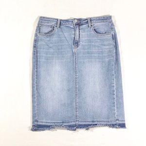 Calvin Klein   Fringed Mid-Length Jean Skirt
